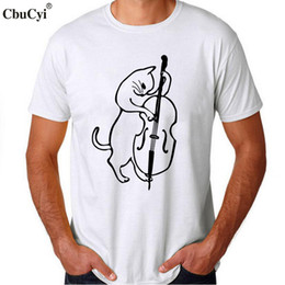 c599b981 The Musician Cat Playing Bass T Shirt Funny Cool Men musician t-shirt  Hipster Graphic Tee Shirt Homme White Cotton tshirt