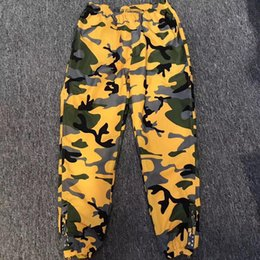 Wholesale Woman Fashion Camouflage Pants - 18ss S-p Fashion Pants Customized Warm Up Pant Men And Women Motion Yellow Camouflage Trousers High Quality Pants HFWPKZ038