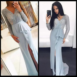 Wholesale Sparkled Top Dress - 2018 Vintage Light Blue V Neck Long Sleeve Lace Evening Party Wear Gowns Sparkle Sequins Top Sexy Side Split Formal Prom Gowns Mermaid