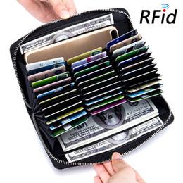 Tarjetas de visita rfid online-Tarjetas de RFID Monedero de cuero unisex Titular de la tarjeta Divisor de crédito comercial Monederos