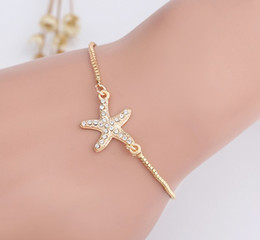 Wholesale ruby gold sets - Starfish Expandable Bracelets Girls Ladies Stylish Rhinestoned Charm Alloy Silver Gold Filled Punk Hand Chain Bracelets