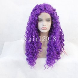 Wholesale Dark Purple Wigs - Purple Cosplay Wig Afro Kinky Curly Synthetic Wig Heat Resistant Wigs Natural Front Lace wig for Womens