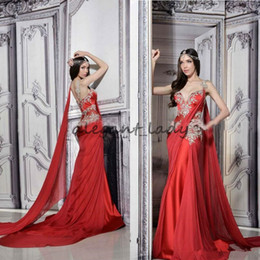 indian short gown Promo Codes - Gorgeous Indian Dresses Long Formal Red Evening Gowns Sheer Straps Court Train Ruched Chiffon Lace Appliques Prom Dress with Ribbon
