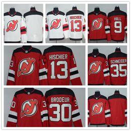 pullover nhl vuoto Sconti Uomo NHL 2017-18 Stagione New Jersey Devils 35 Schneider 30 Brodeur 13 Hischier 9 Hall Blank Red Home White Premier Hockey Maglie