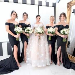 Wholesale Bridesmaid Dres - Elegance Black Mermaid Bridesmaid Dresses Simple Off Shouder Side Split Sexy Wedding Guest Dress Fashion Sweep Train Long Special Party Dres