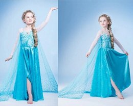 Wholesale Cape Skirts - Girls Frozen Princess Gown Dress Long Sleeve Sequined Skirt Blue Snowflake Princess Long Cape Dress Exclusive Cosplay for Birthday Party