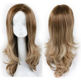 Wholesale white wig cosplay long - Cheap Fashion Long Ombre Hair 130% Density Synthetic Wigs for Black White Women, Natural Wavy Cosplay Hair Wig for Ladies Free Shipping