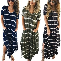 Wholesale Ladies Short Summer Dresses - Women Maxi Long Dress Summer Style Sexy Ladies Beach Split Dress Striped Boho Long Short Sleeve Casual Vestidos
