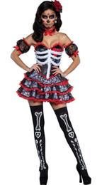 2019 fantasia de princesa de princesa amarela Sexy Dia Mexicano Dos Mortos Vestido Extravagante Senorita Bone-ita Esqueleto Horror Fantasma Helloween Noiva Vampiro Crânio Traje