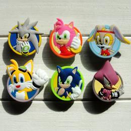 2019 accesorio sonic 100 unids Sonic the Hedgehog verano accesorio de dibujos animados PVC zapato hebilla de zapatos Charm Fit Croc ShoesWristband accesorios Kid regalo Party Favors accesorio sonic baratos