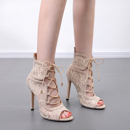 Wholesale Cool Careers - New 2018 sexy suede splicing hollow out 11 cm high with fine lace lace with cool female open-toed sandals boots