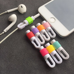 Wholesale Earphone Wire Winder - hot Earphone Cable Protector For iphone earphones Wire organizer Earpods Cord Protector Protective Case Colors Bobbin Winder Cover