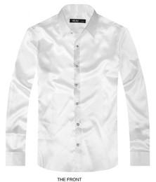 Bräutigamhemd seidenweiß online-2017 weiß Luxus der Bräutigam Hemd männlichen Langarm-Hochzeit Shirt Männer Partei künstliche Seide Kleid M-3XL 21 Farben FZS15
