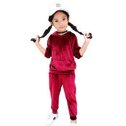 С капюшоном девушки в спортивном костюме онлайн-Детские Девочки Одежда Мальчики Одежда Дети Tracksuit детей дизайнер одежды девочек 2PCS Спорт Свободный костюм Серый Красный Темно-синий с капюшоном Top