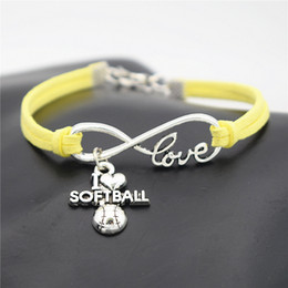 Wholesale Sports Team Jewelry - AFSHOR Punk Sport Antique Silver I Love Softball Pendant Charm Leather Bracelets for Women Men Softball Team Gift Infinity Love Jewelry