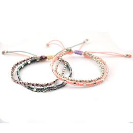 bracelets de tissage mignon Promotion Nouveau Bracelet Charme pour les Femmes Cadeau Réglable Corde Mignon Corée Bracelet Main Tissage Multi-couche De Mode Multi-couleur Mix