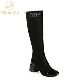 hole mesh shoe Promo Codes - Phoentin zipper mesh boots knee high 2018 new arrival boots women patchwork TPR brand women shoes black hole sale fashion FT500