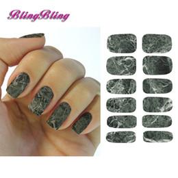 Pegatina de mármol online-1 unids Marble Nail Calcomanías de Agua Etiqueta de Transferencia Dark Stone Rock Nail Wraps Etiqueta Manicura Decoraciones