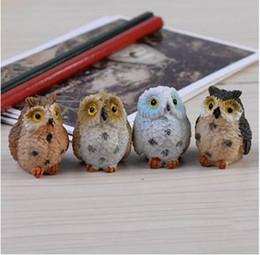 pc miniatura Sconti 4 Pz / set Carino Artificiale Gufo Figurine Miniature belle uccelli fata giardino gnome resina artigianato decorazioni accessori per la casa