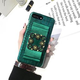 Wholesale bow phone cases - Stylish Bow Rhinestone Crocodile Pattern Leather Phone Shell Diamond Back Cover Case for iPhone X 10 6s 7 8 Plus