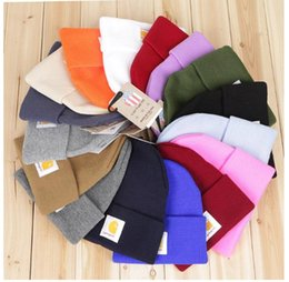 Wholesale New Fashion Yarn - 16colors Carhartt Hats for Men women with tag 2018 New Designer Unisex Knitted Wool Warm Winter hat Beanie Sports Caps Knitted Hip Hop hats