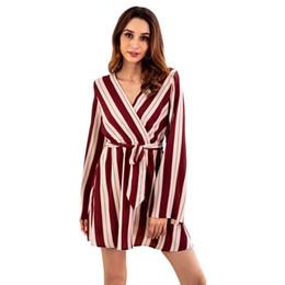 nouvelle hotsale mode femmes nouvelle rayé croix col en v sexy manches longues ceinture robe robe taille haute lâche robe midi ? partir de fabricateur