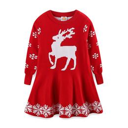 Canada 2018 filles nouvelle robe pull de noël bébé femelle robe à manches longues de Noël wapiti cheap elk sweater Offre