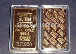 Wholesale Wholesale Gold Bullion Bars - laser number Free,High Quality 10pcs lot Credit suisse Fine gold replica bullion .999 gold plated bullion bar