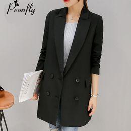 Chaquetas largas de negocios para damas online-PEONFLY 2017 medio largo Blaser Blazer mujeres OL oficina traje de negocios chaqueta femenina negro gris mujer Blazer manga larga Femme