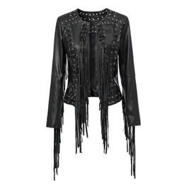 Wholesale Black Boyfriend Jacket - Women New Long Sleeve Back Tassels Long Leather Tassels Jacket The Misfit Fringe Color Black Slim Boyfriend Style PU Jacket Coat