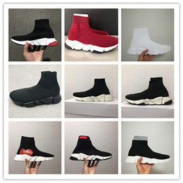 Wholesale popular training - 2018 new european and American popular street Black Sock Shoes Booties Sports Running Shoes Training Sneakers 17fw Knit Sock Sneakers 36-45