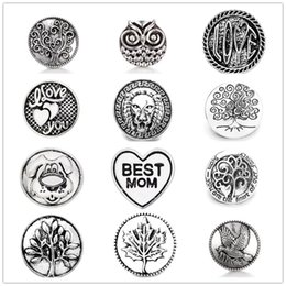 Argentina Vintage Noosa Chunks Metal Snap Button Joyas Tree of Life Heart 18 MM Botones a presión Fit 18mm Snap Button Bracelet Necklace cheap tree life snaps Suministro