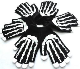 Luvas do fantasma do dia das bruxas on-line-Suprimentos de Halloween Todos Os Santos Adereços Dia Roupas Fantasma Luvas De Combate Luvas De Esqueleto Assustador Pano Sólido Halloween Execução Luvas H929Q