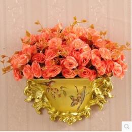 vases en bois Promotion Vase en résine de style américain, porcelaine accrochée au mur, fournitures de décoration de maison de mariage