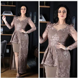 Wholesale grey evening gown jacket - Grey Evening Dresses Long Sleeve Mother Evening Gowns Lace Appliques Peplum Sheath Knee Length Lace Prom Dresses