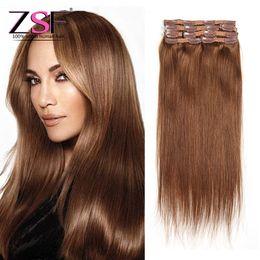 ZSF Meilleur Prix Non Transformés Péruvien Cheveux Raides Avec 80g 7pcs 6 # Clip Brun Clair en Extensions de Cheveux Humains ? partir de fabricateur