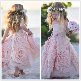 Wholesale White Bow Shirts - 2018 New Blush Pink Spaghetti Straps Tulle A Line Flower Girl' Dresses floral Ruffles Floor Length Little Girls 'Wedding Party Dresses