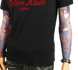 Wholesale Tattoos Arms Designs - NEW ARRIVAL-12pcs mix elastic Fake temporary tattoo sleeve 3D art designs body Arm leg stockings tattoo cool men-women Free shipping