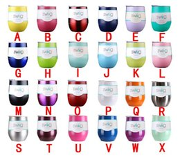 Wholesale 24 Cups - 9oz Egg Cup Stemless Wine Glass Stainless steel Tumbler Powder Coated Vacuum Insulated Mugs with Lid 24 Colors