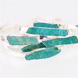 Wholesale Amazonite Jewelry - 1 Piece Women Fashion Jewelry Sky Blue Natural Amazonite Stone Bangle Bracelet Great Gift for Lady Girlfriend