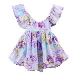 Wholesale Girls Suspenders - 2018 european style new summer infant baby girl pink floral print suspender dress kids soft cotton falbaladress