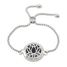 aceite esencial de difusión de joyas Rebajas ashion Jewelry Bracelets Pulsera de aromaterapia de acero inoxidable ajustable de 25 mm Magnetic Lotus Essential oil Diffusing Bracelet para mujeres