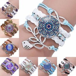 Wholesale heart cabochon glass - Infinity Love Heart Butterfly Charm Mandala Bracelets Multilayer Wrap Weave Flower Glass Cabochon Bracelet Cuffs Fashion Jewelry Drop Shipp