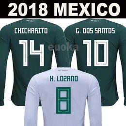 Wholesale men long sleeve white shirt - 2018 Mexico World Cup long sleeve soccer jerseys 18 19 P.AGUILAR CHICHARITO G.DOS SANTOS O.PERALTA H.LOZANO football Full shirts