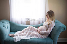 Wholesale tight silk dresses - 2018 Pregnant women sexy deep V-neck long-sleeved lace perspective tight-fitting dress skirt outside the new dress long skirt