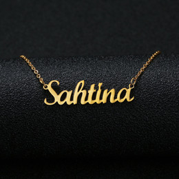 personalized name chains Promo Codes - Gold Silver Color Personalized Custom Name Pendant Necklace Customized Cursive Nameplate Necklace Women Handmade Birthday Gift