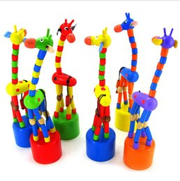 Wholesale wooden stand decoration - Wholesale- 2017 New Cute Gift For Ki ds Intelligence T oy Dancing Stand Colorful Rocking Giraffe Wooden To y Houten Speelgoed Lowest Price