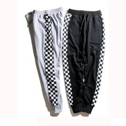 25725f3aa18 Streetwear Fashion Hip Hop Gray Black Track Pants Checkerboard Women Men Joggers  Pants Skateboard Sweatpants
