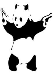 Arma pôsteres on-line-Banksy Street Art Panda com Armas Art Silk Poster 20x30 24x36 24x43