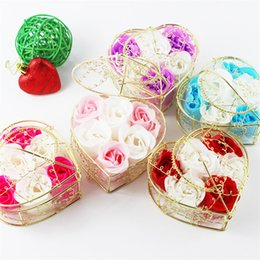 Wholesale Design Soap - 6pcs Metal Box Rose Flower Design Bath Wash Soap Flower Petal Valentine Day Gift Scented Wedding Decor IB706